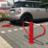 Antiparkeerbeugel - rood of verzinkt - neerklapbaar met driekantsslot -  grondstuk
