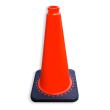 Verkeerspion 750mm oranje met verzwaarde voet van gerecycled kunststof