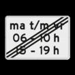 Verkeersbord RVV OB256p2e - Onderbord - Einde periode