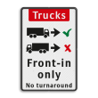 Informatiebord - Trucks drive in forward only