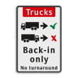 Informatiebord - Trucks drive in backwards only