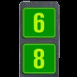 Huisnummerpaal met twee borden fluorescerend + reflecterend 119x109mm