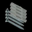Schroef met plug (set 4 stuks) t.b.v. montage vlak bordje aan muur/gevel