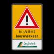 Routebord rechthoek bouwverkeer + tekst + logo