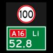 Hectometerbord BB08 Li met A01100