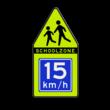 SCHOOLZONE-bord 700x1400mm met adviessnelheid