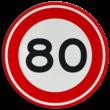 Verkeersbord RVV A01-080 - Maximum snelheid 80 km/h