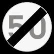 Verkeersbord SB250 C45 - Einde van de snelheidsbeperking opgelegd door het verkeersbord C43
