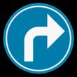 Verkeersbord SB250 D1f - Verplicht aangeduide richting te volgen (rechtsaf)