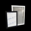 Vitrinebord aluminium met voorruit - zonder opdruk plaat