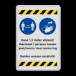 Veiligheidsbord - 1,5 meter afstand houden + handen wassen