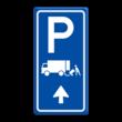 Parkeerroutebord E7 laden/lossen vrachtwagens met pijl