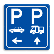 Parkeerbord E8 Camper en auto met aanpasbare pijlen