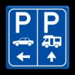 Parkeerbord E8 Camper en auto met pijlen