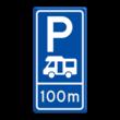 Parkeerroutebord E8n camper met aanpasbare afstandsaanduiding