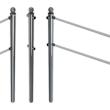Geleidehek TS60 staal - palen met aluminium bolkop - RAL 7016 of gegalvaniseerd