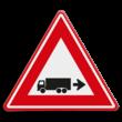 Verkeersbord - waarschuwing rechts achteruitrijdende vrachtwagen
