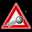Verkeersbord overvliegende golfbal
