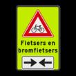 Verkeersbord RVV J24 - FLUOR (brom)fietsers met tekst