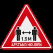 Verkeersbord - houd 1,5 meter afstand