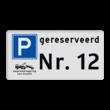 Parkeerplaatsbord E04 + wegsleepregeling + eigen tekst