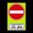 Verkeersbord RVV C02OB54f - Eenrichtingsweg met uitzondering - fluor achtergrond