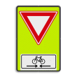 Verkeersbord RVV B06OB503OB02f - Voorrangsweg - FLUOR met Kruising fietspad