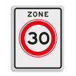 Verkeersbord RVV A01-30zb - Begin zone maximum snelheid