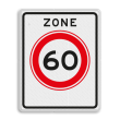 Verkeersbord RVV A01-60zb - Begin zone maximum snelheid