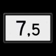Kilometerbord (Halve) 0,5 t/m 9,5 - bovenleidingportaal - RS - 500x300mm - Reflecterend