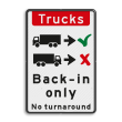 Verkeersbord - Trucks drive in backwards only