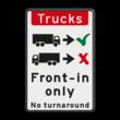 Verkeersbord - Trucks drive in forward only