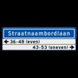 Straatnaambord KOKER 1000x300mm - max. 18 karakters - met 2 regels huisnummers - NEN1772