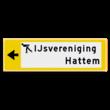 Verwijsbord KOKER Geel/wit/zwart - pijl links, 2 regelig met 1 pictogram - Klasse 3 reflecterend