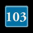Container sticker Huisnummer blauw/wit   Klassiek