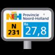 Hectometerpaal type PZH met vlak bord 330x195mm - Noord-Holland