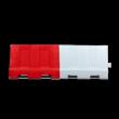 Kunststof barrier 1200x400x800 - rood/wit - vulbaar met water of zand