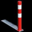 Afzetpaal verzonken met inklapsysteem - Ø90mm rood/wit