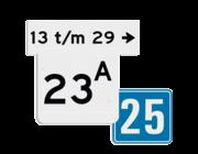 Huisnummerbord voor op de gevel