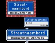 Straatnaambord + huisnummers