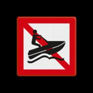 Scheepvaartbord A.20 - Verboden voor waterscooters