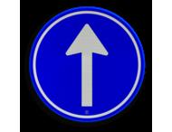 Verkeersbord RVV D04 - Verplichte rijrichting rechtdoor
