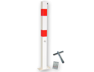 Antiparkeerpaal 70x70mm rood/wit, NEERKLAPBAAR - bodemmontage