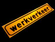 Sticker 500x100mm geel fluorescerend 'WERKVERKEER'