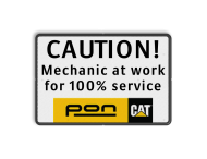 Logobord PON-Equipment onderbord - CAUTION Mechanic at work