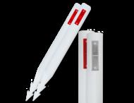 Bermpaal kunststof - Harpoen - 1200x110x50mm + reflector rood/wit