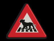 Verkeersbord overstekend wild - leeuw