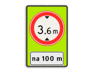 Verkeersbord RVV C19f - OB401-xxx - Gesloten voor te hoge voertuigen + afstand - fluor achtergrond - BT25a