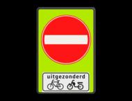 Verkeersbord RVV C02 - OB54 - Eenrichtingsweg met uitzondering - fluor achtergrond