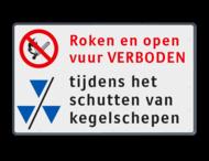 Scheepvaartbord 1000x600x28mm Open vuur verboden - kegelschepen